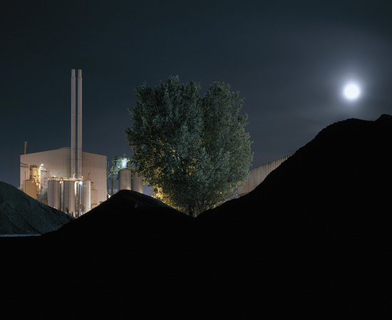 Factory, Tree and Moon behind silhouette (RM9), William Eckersley. Courtesy Vegas Gallery.