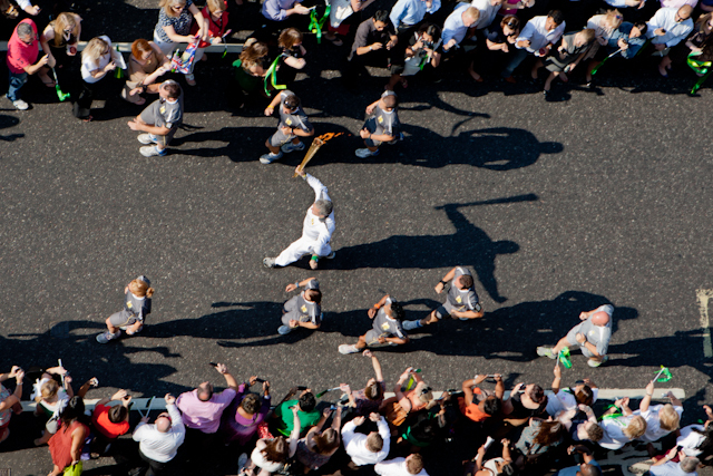 Aerial view of the Torch Relay going through the City by Gary Cohen