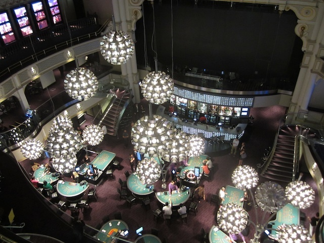 Looking down from the poker room, up in the Gods.