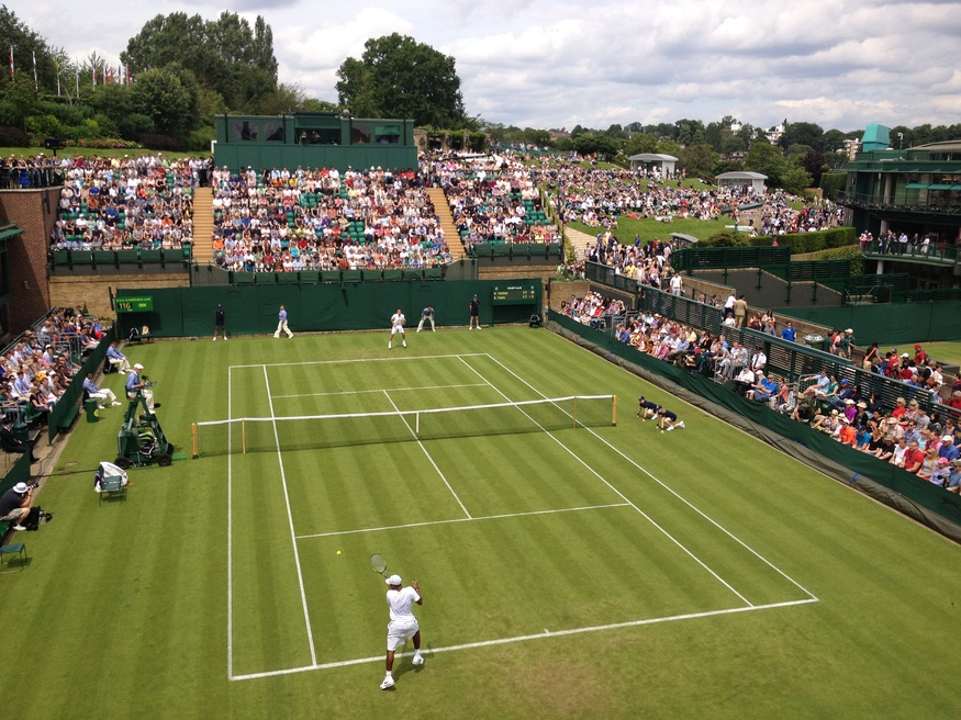 Donald Young in action on Court 18