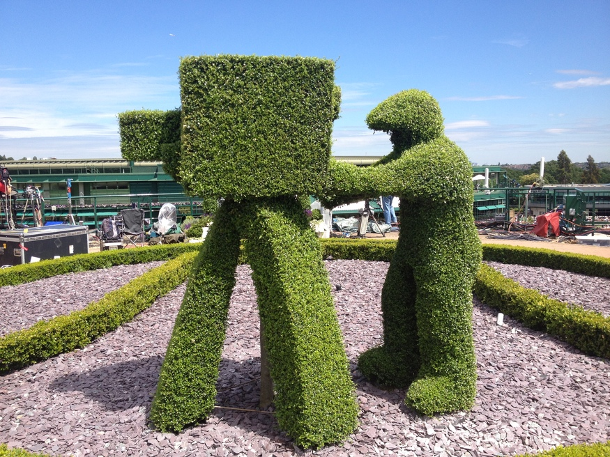 The topiary captures the action