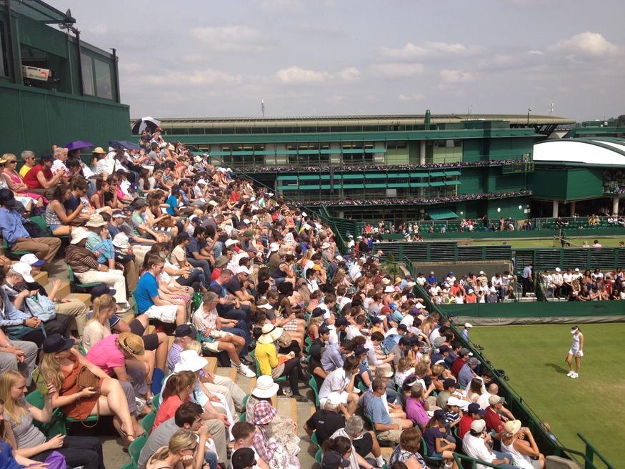 Spectators bathed in sunshine