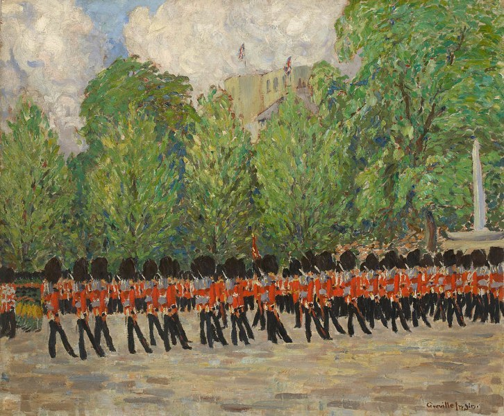 Greville Irwin RBA, The King's Company Grenadier Guards, Escort to the Colour. Courtesy Panter & Hall