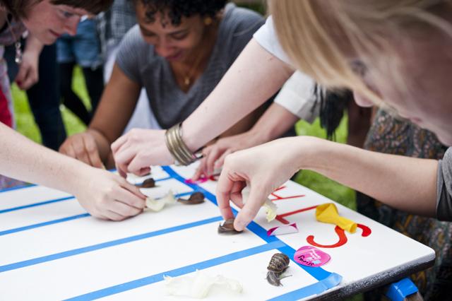 Snail racing.