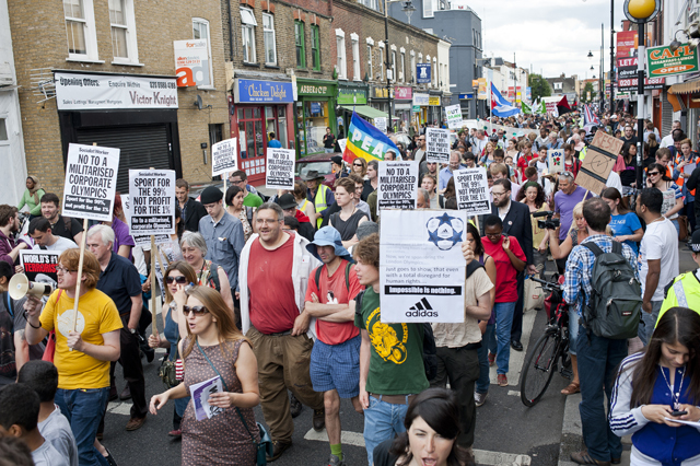Protest parade at Roman Road.