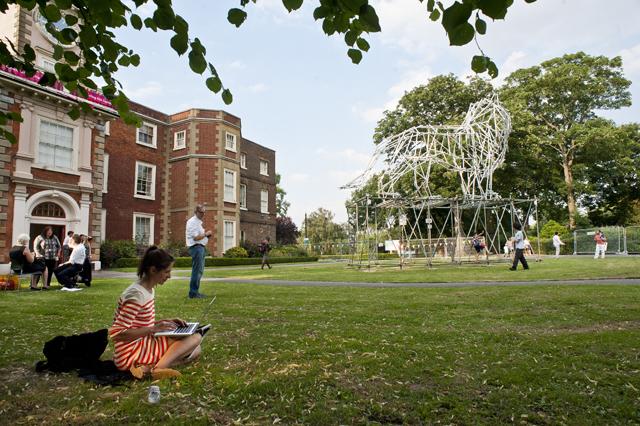 Bruce Castle Park with Lion scaffolding sculpture
