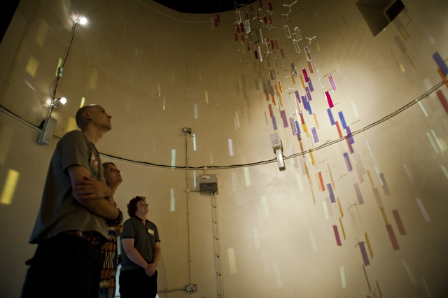 Free as a bird, Martin Richman & Charlie Kerr installation inside the Tudor Hawk Tower