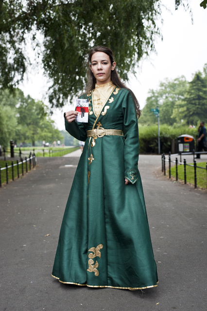 Lisa Jarkasi, wearing a traditional Circassian outfit at the Counter Olympic Torch Relay.