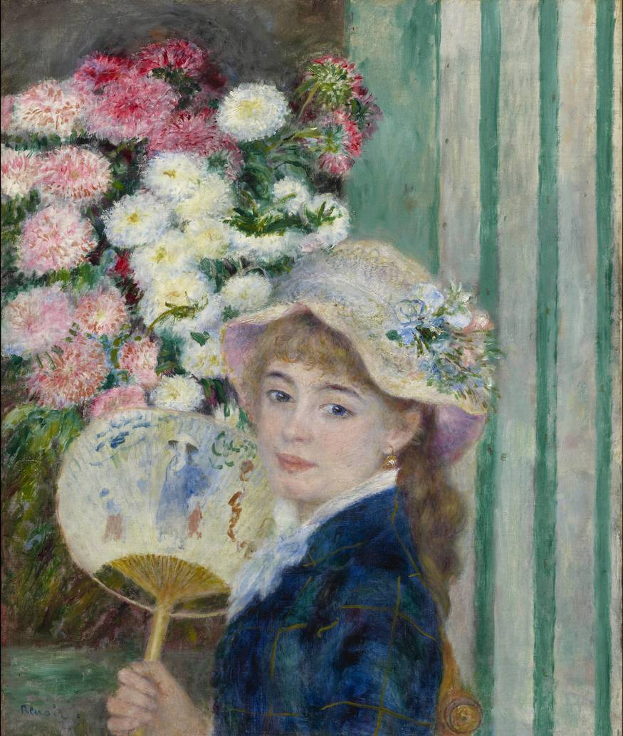 From Paris: A Taste for Impressionism  Paintings from the Clark  7 July 2012 to 23 September 2012    Key. 43  /  Cat. 53    Pierre-Auguste Renoir  Girl with a Fan, c. 1879  oil on canvas  65.4 x 54 cm  ?? Sterling and Francine Clark Art Institute, Williamstown, Massachusetts, USA, 1955.595    Exhibition organised by the Sterling and Francine Clark Art Institute, Williamstown, Massachusetts, in association with the Royal Academy of Arts.