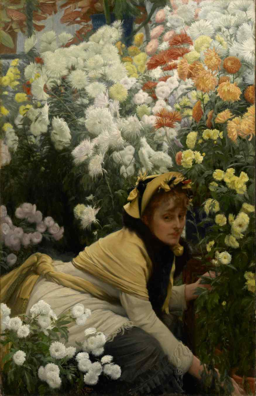 From Paris: A Taste for Impressionism Paintings from the Clark  7 July 2012 to 23 September 2012    Key. 70    James Tissot  Chrysanthemums, c. 1874??????76  Oil on canvas, 118.4 x 76.2 cm  Acquired in honor of David S. Brooke (Institute Director, 1977??????94)  ??????? Sterling and Francine Clark Art Institute, Williamstown, Massachusetts, USA, 1994.2