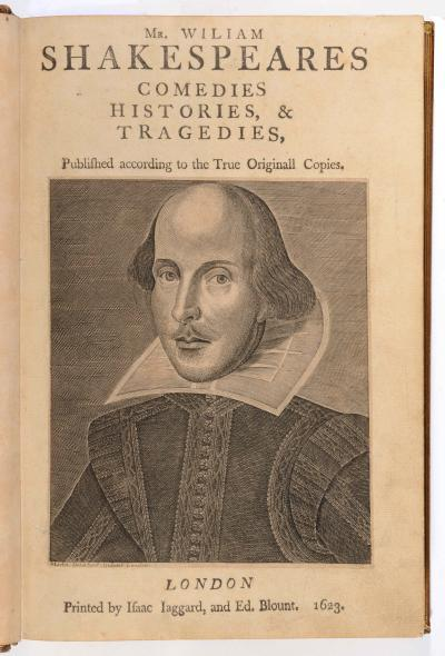 The Arundel First Folio - Engraving of William Shakespeare by Martin Droeshout. By permission of the Governors of Stonyhurst College