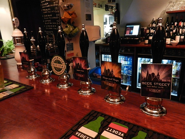 Most of the London Brewing Co range, plus a guest beer.