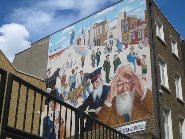A new mural on Mile End Road, showing characters from Whitechapel's history. It was painted by Mychael Barratt in 2011.