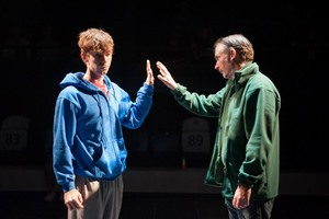 THE CURIOUS INCIDENT OF THE DOG IN THE NIGHT-TIME National Theatre 2012 LUKE TREADAWAY as Christopher Boone and PAUL RITTER as Ed Photo by Manuel Harlan