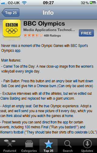 Unlikely features on the BBC's Olympics app, by @death_stairs
