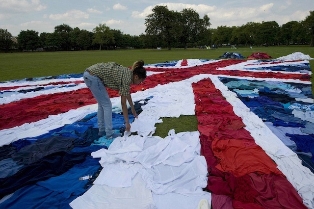 World's Largest Union Jack, Made From Pants And Stuff