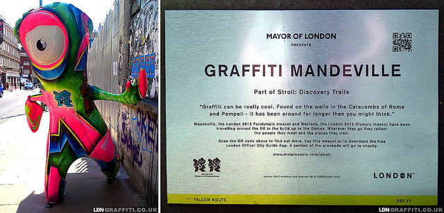 Official sanction for street art, with this Graffiti Mandeville on Brick Lane. Photo by Joeppo in the Londonist Flickr pool.