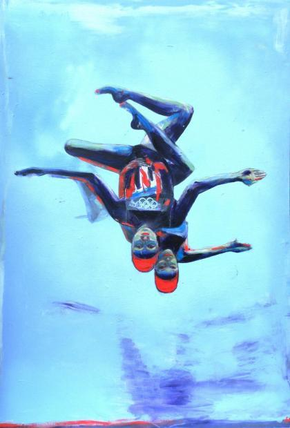 Jenna & Olivia, Team GB synchronised swimmers by Helen Gorrill in 20:12 at Degree Art