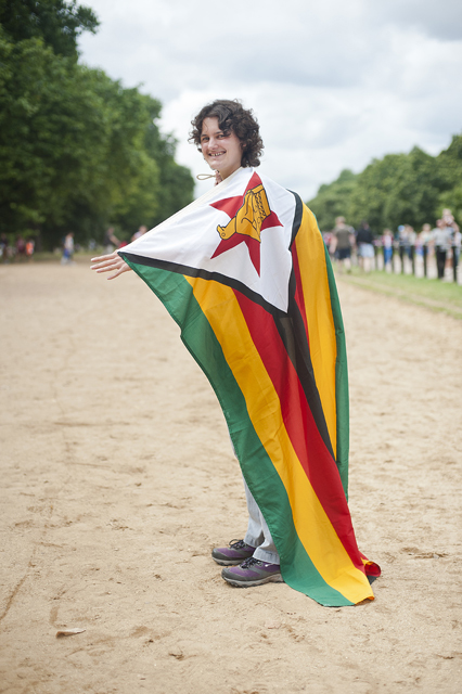 Zimbabwe fan proudly showing the flag at Hyde Park