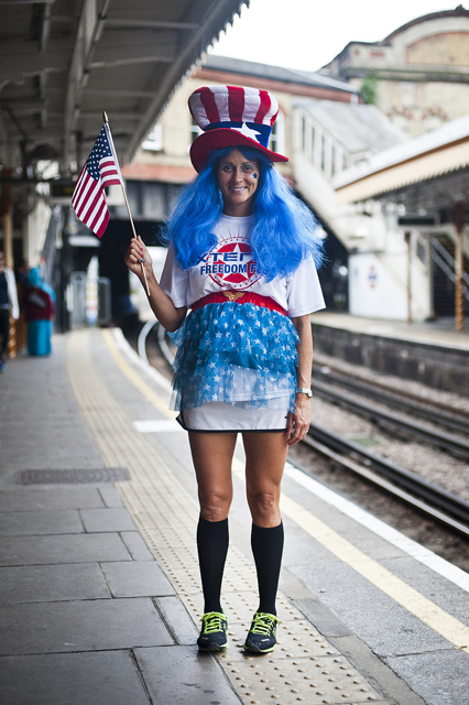 Tanya Hill From USA catching the tube at Westbourne Park Station