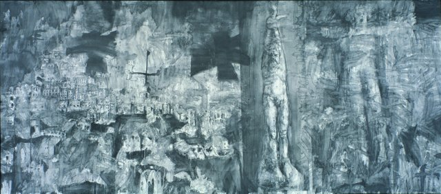 Hughie O�Donoghue   Crossing the Rapido III, 1998  Graphite wash on canvas prepared with gesso  325 x 686 cm   Image courtesy of the artist  Photo: Anthony Hobbs