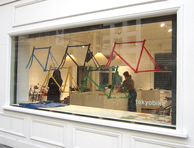An inventive way to show off your bike frames in Shoreditch. Photo by M@.