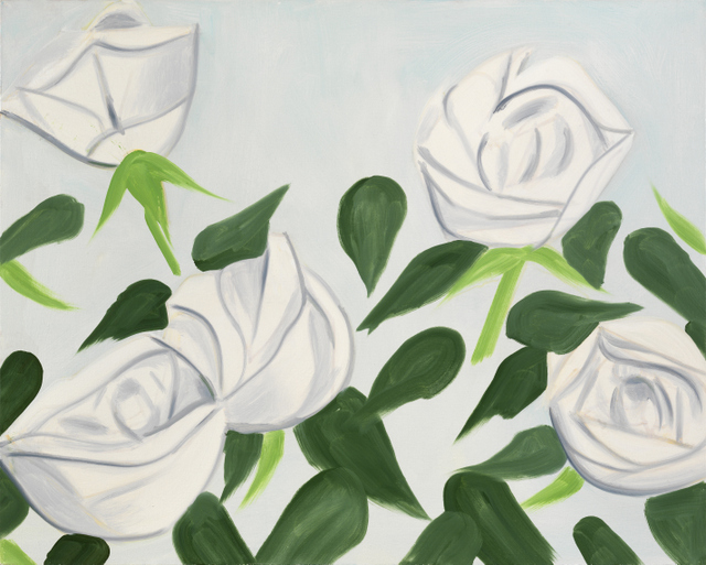 Alex Katz ʻWhite Roses 1'. © Alex Katz/Licensed by VAGA, New York, NY. Courtesy, Timothy Taylor Gallery, London
