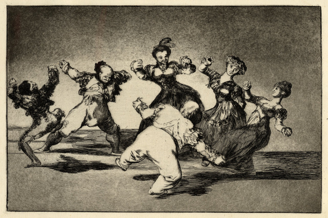 Figures Dancing in a circle from Los Disparates, 1816-23, Francisco Goya (1746-1828). Print, 245 x 355 mm. Copyright of the Trustees of the British Museum