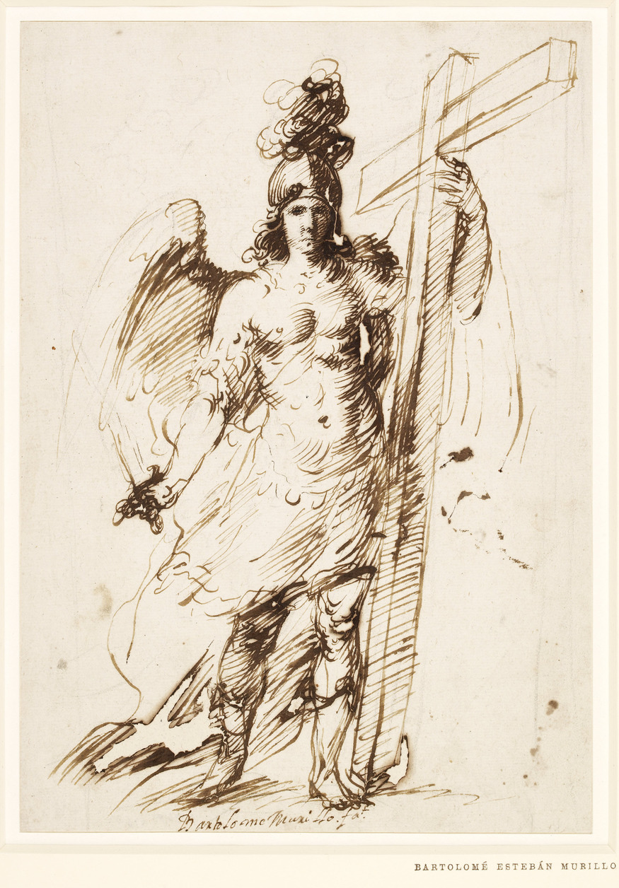 The Archangel Michael, 1655-60, Bartolome Esteban Murillo (1618- 1682). Pen and brown ink, 268 x 189 mm. Copyright of the Trustees of the British Museum