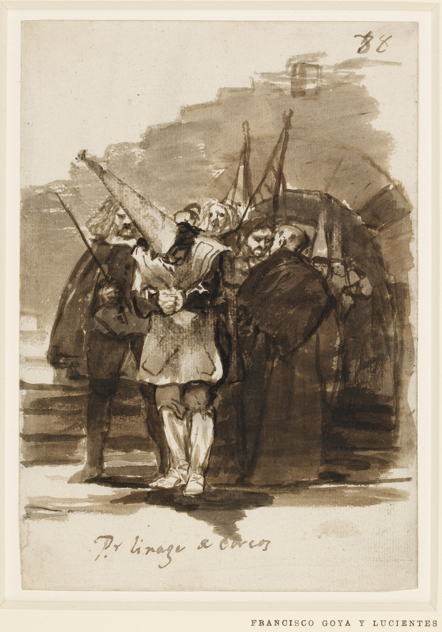 For being of Jewish ancestry, 1814-24, Francisco Goya (1746-1828). Drawing, 205 x 142 mm. Copyright of the Trustees of the British Museum