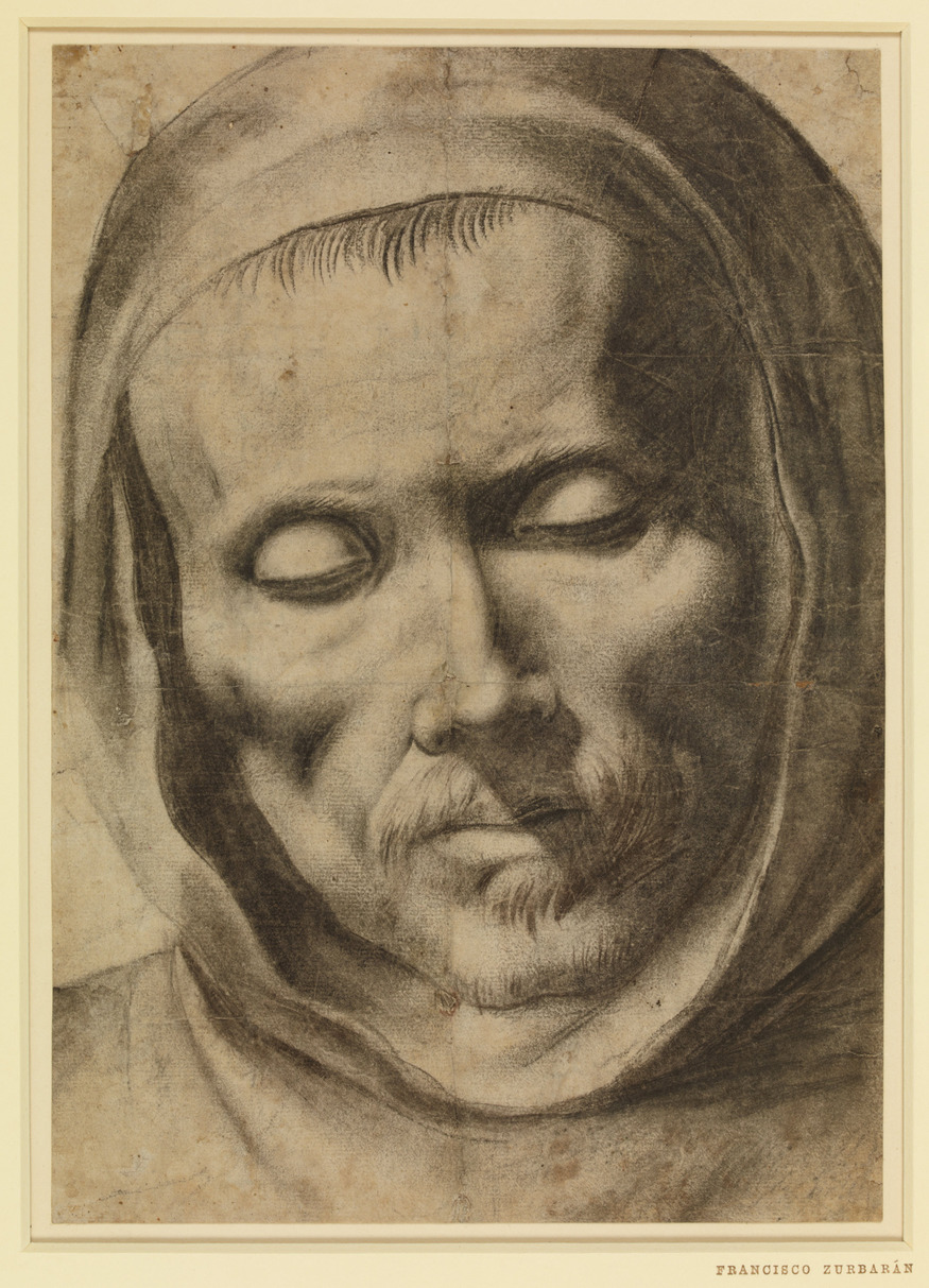 Head of a monk, 1625-64, Francisco de Zurbaran (1598-1664). Drawing, 277 x 196 mm. Copyright of the Trustees of the British Museum
