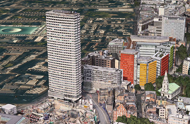 Centre Point. This illustrates the extremity of the 3D rendering; north of here it's all two-dimensional