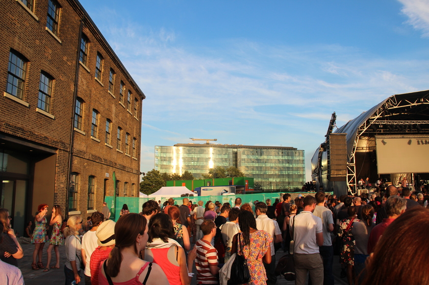 By the stage - Central Saint Martins College of Art & Design to the left and Kings Place opposite