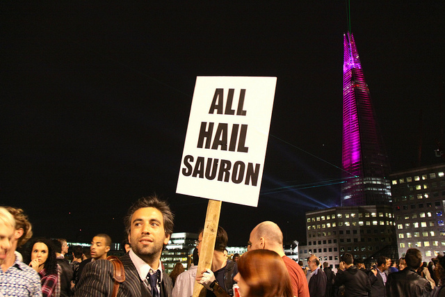 This wag made the national news with this sign during the Shard launch, by Myk Reeve
