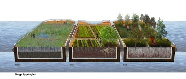 """Barge Walk by Erika Richmond and Peggy Pei-Chi Chi: """"The creation of a linear park, farm and wetland on barges anchored at the edge of West India Dockyards."""""""
