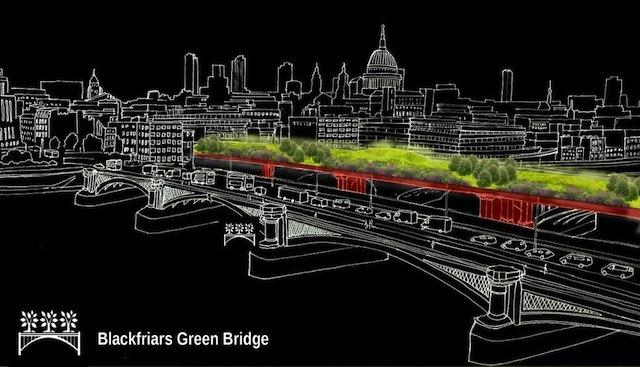 "Blackfriars Green Bridge by Terra Studio: ""New iconic green bridge over the Thames between existing disused pillars."""