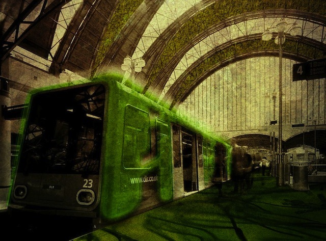 """Re-Structure by Scott Badham and Ian Fisher: """"The transformation of existing transport infrastructure (bus and DLR) into living walls – e.g. biocentric 'mats' and 'sleeves' layered onto existing fabric.)"""