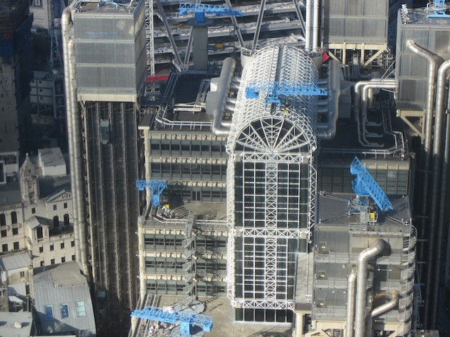 Looking down on Lloyds and its rarely seen glass roof.