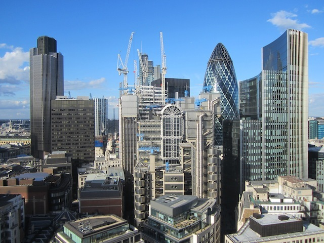 The City cluster, with the emerging Cheesegrater building in the middle, as seen from the 17th floor.