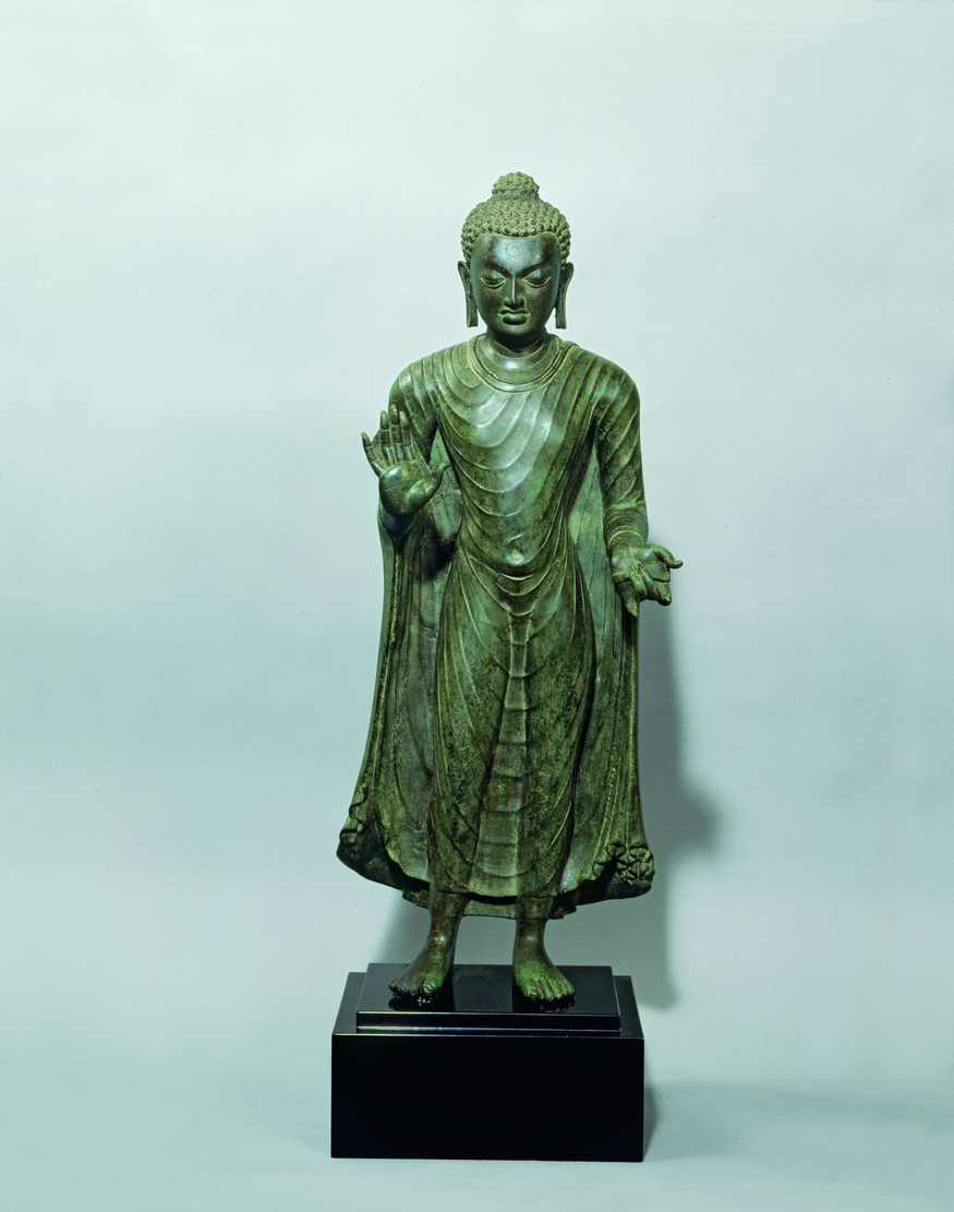 Key. 264    The Buddha Shakyamuni in Abhaya-mudra, probably Bihar, Gupta Period, India, 6th century  Bronze, 68.6 x 27.3 x 17.8 cm  Asia Society, New York: Mr. and Mrs. John D. Rockefeller 3rd Collection, 1979.008  Photo Courtesy of Asia Society, New York