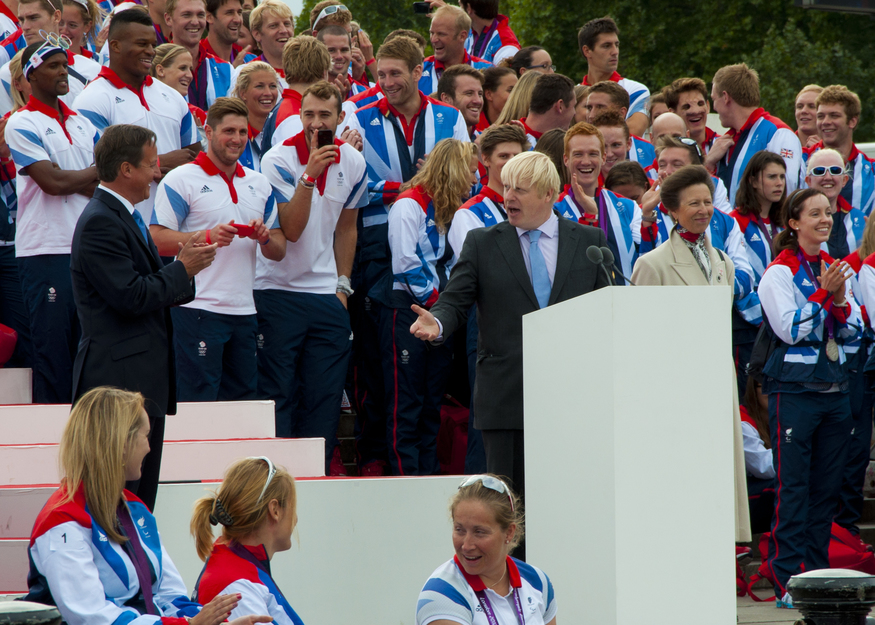 Boris and Cameron exchange pleasantries in front of Team GB. (Andy Thornley)