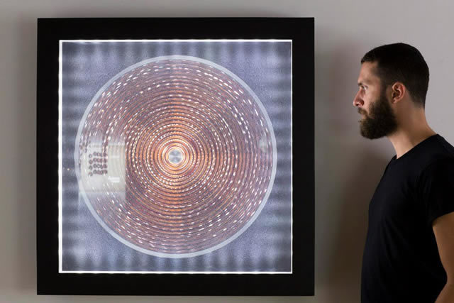 "Phillipe Malouin in front of his work ""Blur"" Photo © David Levene"