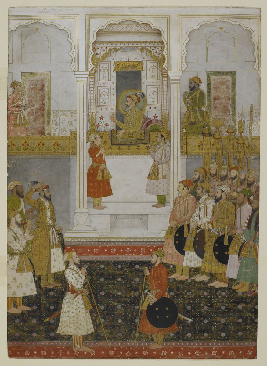 Prince Aurangzeb reports to Emperor Shah Jahan in durbar (1650-55), artwork from Mughal India: Art Culture and Empire (c) British Library Board