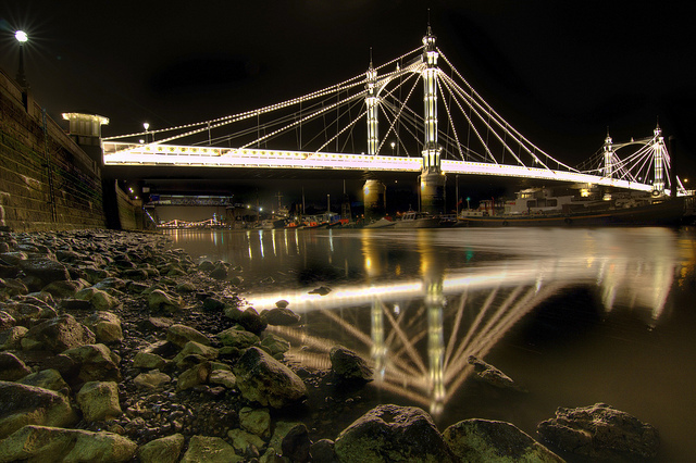 Albert Bridge shot from by the riverside, by John Esslinger