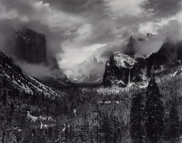 Clearing Winter Storm, Yosemite National Park, California, about 1940�42 Gelatin silver print Image: 24 x 31 in. (60.9 x 78.74 cm); Frame: 26 x 46 in. (66.1 x 116.8 cm) Collection of David H. Arrington, AA/1555 © 2011 The Ansel Adams Publishing Rights Trust