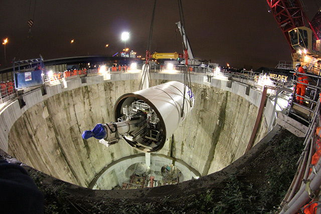 Crossrail Tunnelling Machine Lowered Into Shaft