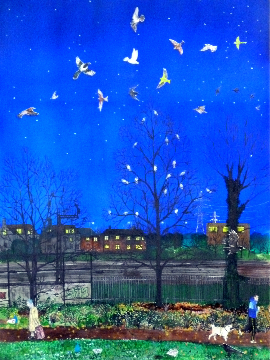 Emma Hwaorth, Birds Over Railway. Image courtesy of Rebecca Hossack Art Gallery.