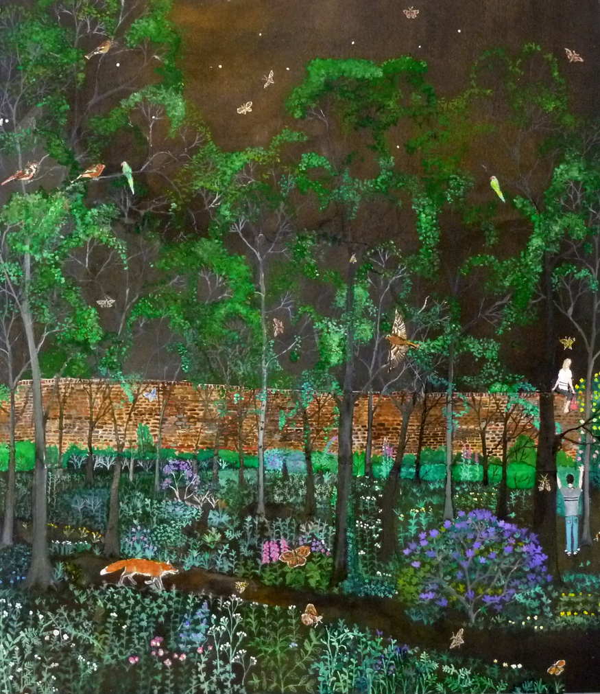 Emma Hwaorth, Midnight Garden. Image courtesy of Rebecca Hossack Art Gallery.