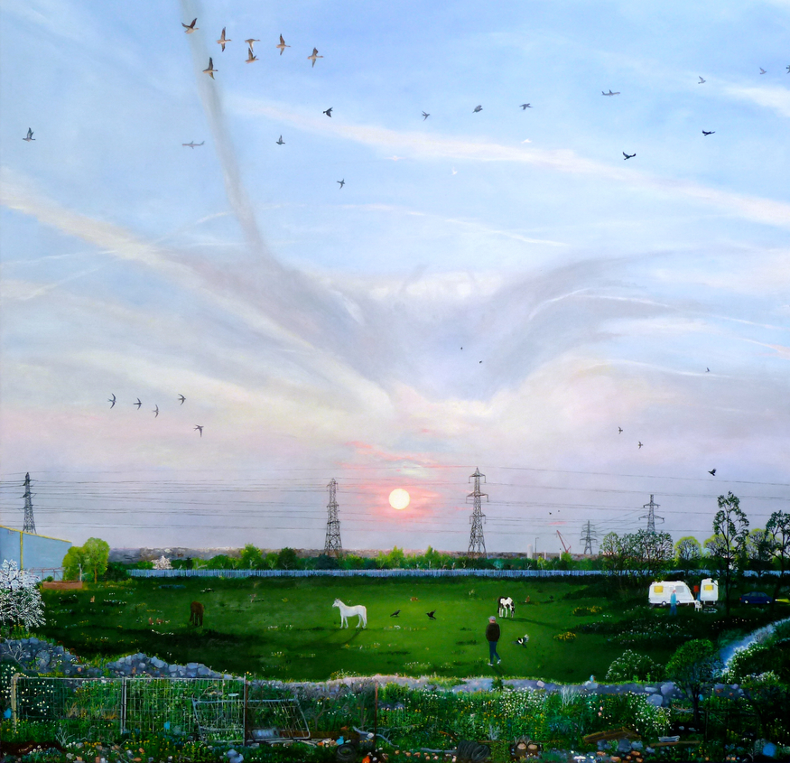 Emma Hwaorth, Sunset over the City. Image courtesy of Rebecca Hossack Art Gallery.