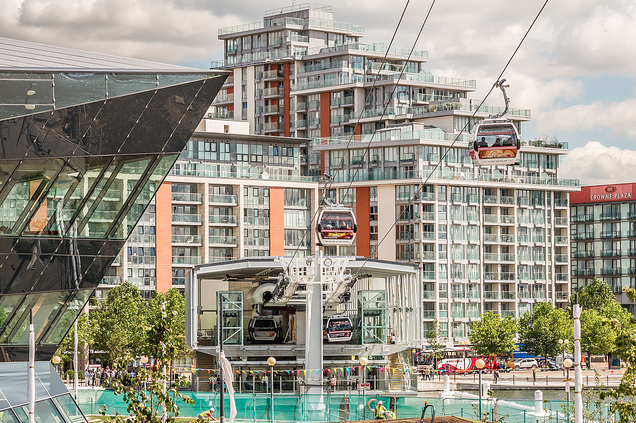 Royal Victoria Dock, the cable car station and the corner of the futuristic Crystal building by zimtkino